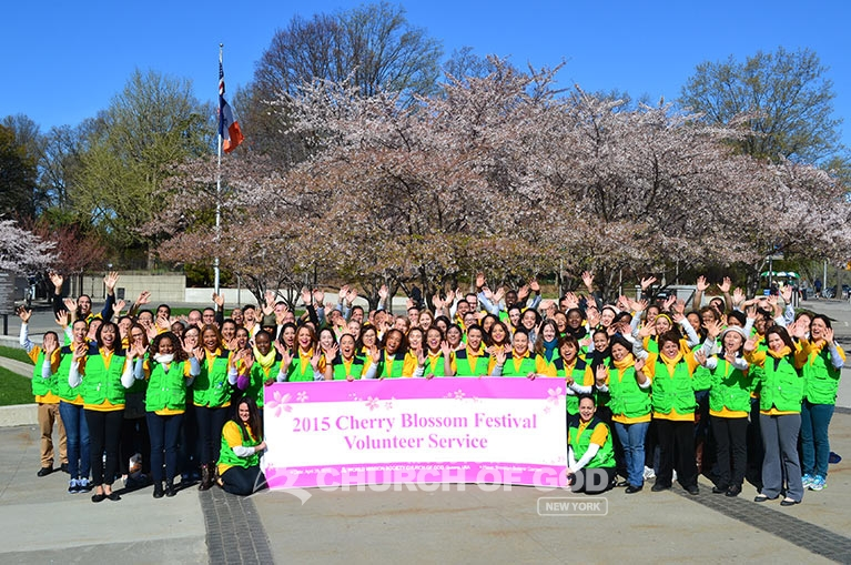 World Mission Society Church of God Volunteers at Brooklyn's Cherry Blossom Festival