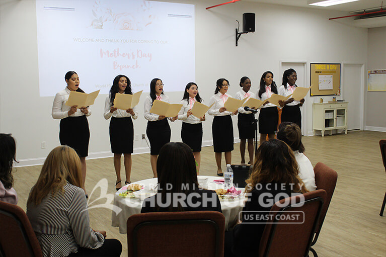 A female choir sang for their mothers on Mother's Day 2019 at the World Mission Society Church of God in Bronx, NY.