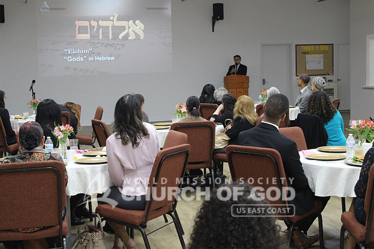 Guests learning about the existence of Elohim God on Mother's Day 2019 at the Church of God.